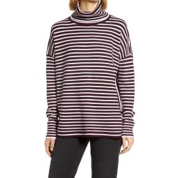 Womens Babysoft Stripe Turtleneck Top