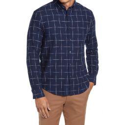 Slim Fit Windowpane Twill Button-Down Shirt
