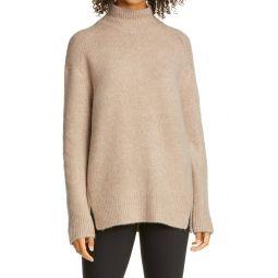 Double Slit Mock Neck Sweater