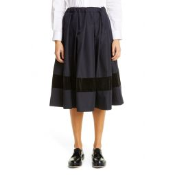 Gabardine & Velveteen Midi Skirt