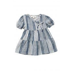 Striped Dress w/ Surplice V-Neck