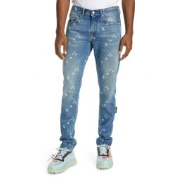 Logo Distressed Slim Fit Jeans