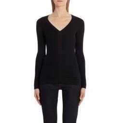 Rib V-Neck Wool Sweater