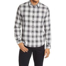 Slim Fit Shadow Plaid Button-Up Shirt