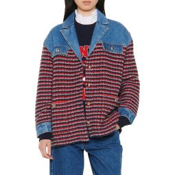 Mix Media Cotton & Wool Blend Cardi Coat