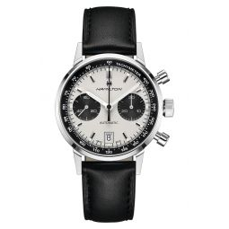 Intra-Matic Automatic Chronograph Leather Strap Watch, 40mm