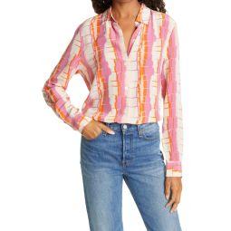 Essential Stripe Silk Button-Up Shirt