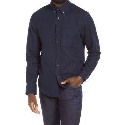 Slim Fit Windowpane Double Face Button-Down Shirt