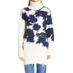 Moo Distressed Intarsia Turtleneck Sweater