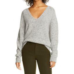 V-Neck Nep Wool Blend Sweater