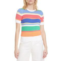Stripe Short Sleeve Cotton Sweater