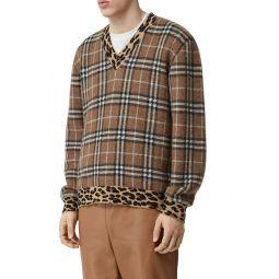 Leopard & Check Jacquard Sweater