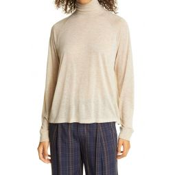 Rib Trim Raglan Turtleneck Sweater
