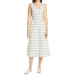 Deep V Sleeveless Plaid Maxi Dress