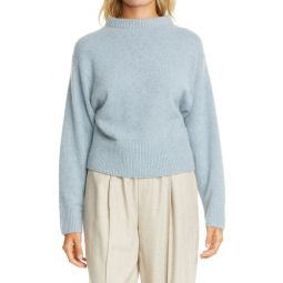 Drop Shoulder Mock Neck Cashmere Sweater