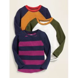 Color-Block Thermal-Knit Raglan Tee 3-Pack for Toddler Boys