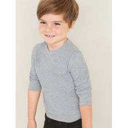 Thermal-Knit Utility-Pocket Tee for Toddler Boys