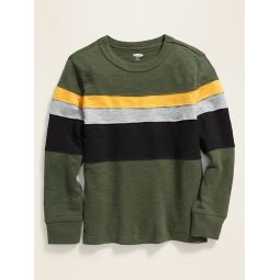 Color-Blocked Thick-Knit Long-Sleeve Tee for Boys