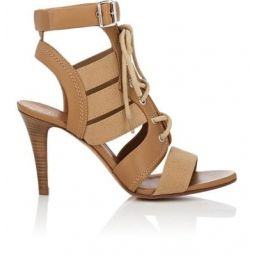 Buckle-Strap Canvas & Leather Sandals