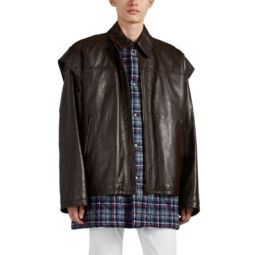 Leather & Quilted Flannel 2-In-1 Coat