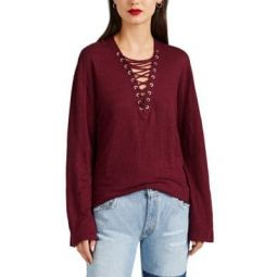 Alety Lace-Up Linen T-Shirt