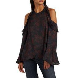 Ciclan Floral Silk Cold-Shoulder Top