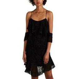 Sabel Floral-Embroidered Georgette Off-The-Shoulder Dress