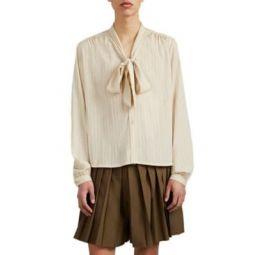 Tonal-Striped Tieneck Shirt