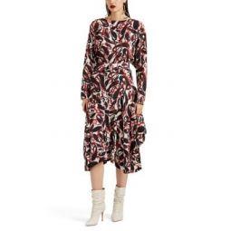 Paisley Silk Belted Dress