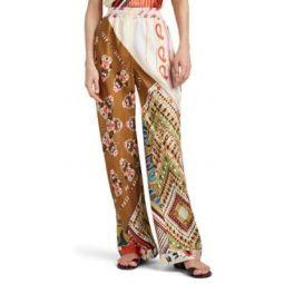 Mixed-Print Silk Wide-Leg Pants