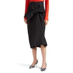 Bow-Front Metallic Pencil Skirt