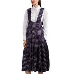 Polka Dot Satin Pleated Apron Dress