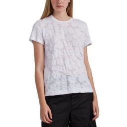 Floral-Burnout Cotton T-Shirt
