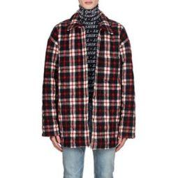 Checked Wool-Blend Oversized Shirt Jacket