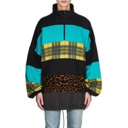 Mixed-Media Oversized Sweatshirt