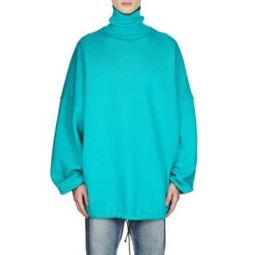 Cotton-Blend Fleece Oversized Turtleneck Sweatshirt