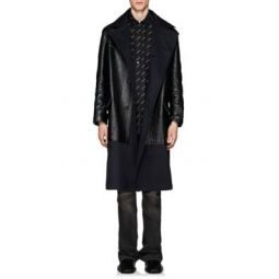 Leather & Twill Trench Coat