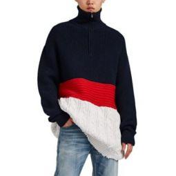 Mixed-Stitch Wool-Cotton Oversized Sweater