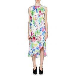 Watercolor Logo-Jacquard Silk Asymmetric Dress