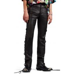 Embellished Grained Moto Skinny Jeans