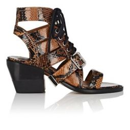 Python-Print Leather Lace-Up Sandals