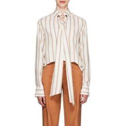 Striped Silk Tieneck Blouse