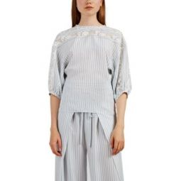 Lace-Inset Striped Silk Blouse