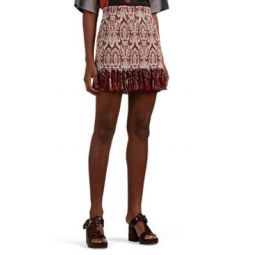 Fringed Damask-Jacquard Cotton Miniskirt