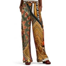 Patchwork Silk Wide-Leg Pants