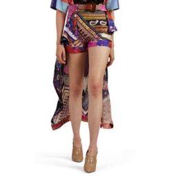 Skirt-Overlay Paisley Silk Shorts