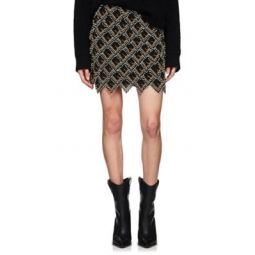 Beaded Leather Miniskirt