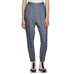 Checked Wool-Blend Tapered Pants