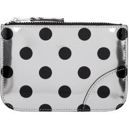 Silver & Black Polka Dot Small Zip Pouch