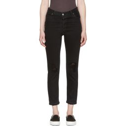 Black High-Rise Ankle Crop Destruction Jeans